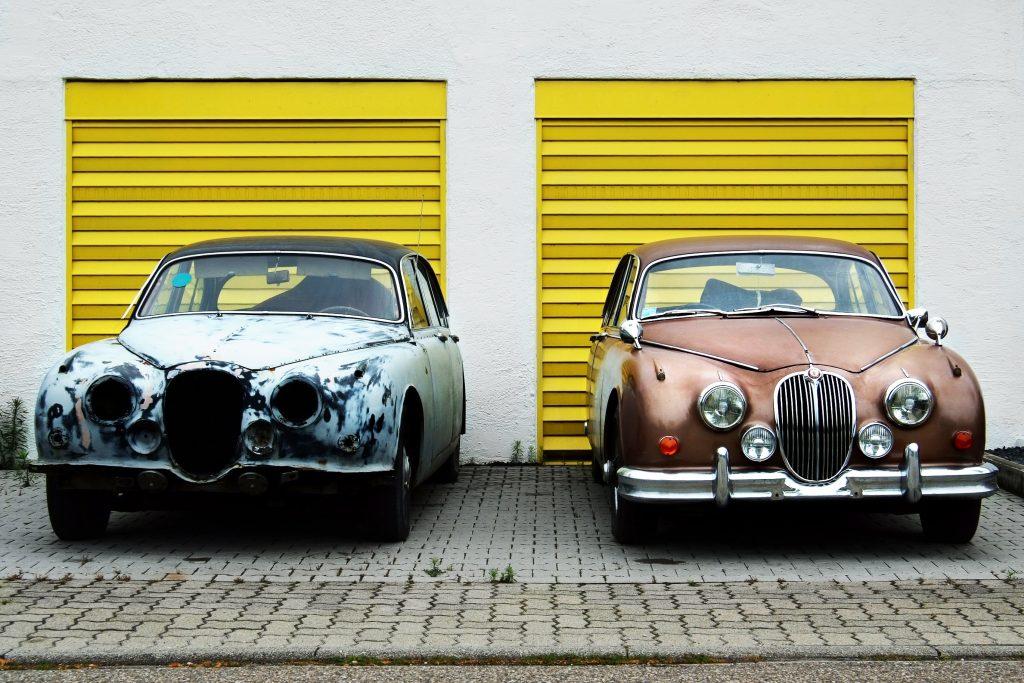 Vorher-Nachher-Vergleich eines Autos