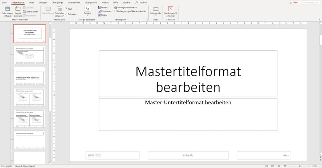 Ansicht im PowerPoint-Folienmaster